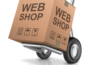 web shop icon online internet shopping concept cardboard box wit